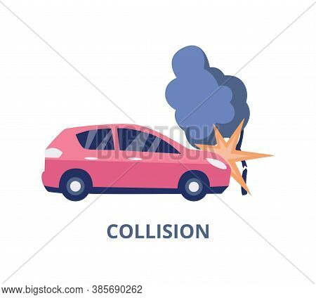 Collision And Accident Car Insurance Banner Flat Vector Illustration Isolated.