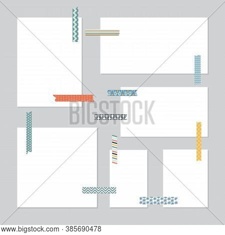 Paper Sheets With Scrapbooking Tapes, Realistic Vector Illustration Isolated.