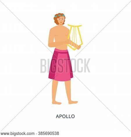 Apollo Greek God Or Mythology Personage, Flat Vector Illustration Isolated.