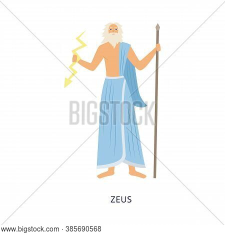 Greek Olympian God Zeus With Thunderbolt Flat Vector Illustration Isolated.
