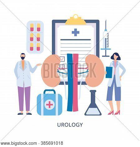 Urology Medical Examination And Check Up Of Kidneys Flat Vector Illustration.
