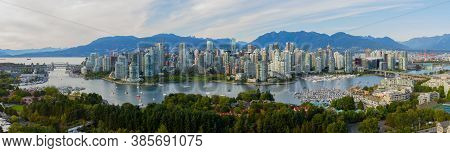 Vancouver Panorama With False Creek And North Shore Mountains