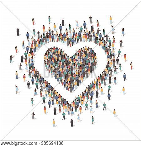 Large Group Of People Forming Human Heart Shape Symbol, Flat Vector Illustration. Love, Appreciation