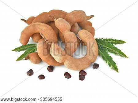 Top View Of Tamarind And Tamarind Seed And Tamarind Leaves Isolated On White Background