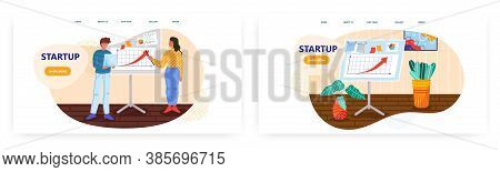 Man And Woman Team Pitch Startup To Investors. Startup Business Concept Illustration. Vector Web Sit