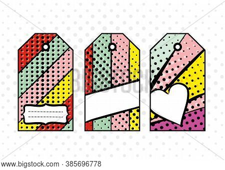 Bright Tags In Pop Art Style. Diverging Multi-colored Rays Of Red, Yellow, Turquoise, Purple And Pin