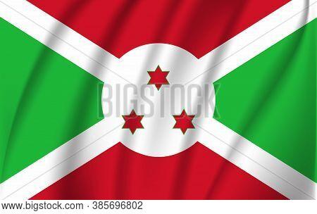 Realistic Waving Flag Of Republic Of Burundi. Fabric Textured Flowing Flag Of Burundi.