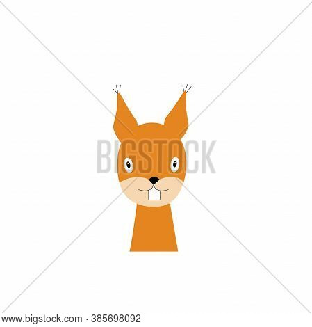 Squirrel Is A Forest Animal. Squirrel Ears With Animal Brush One Icon In Cartoon Style Vector Symbol