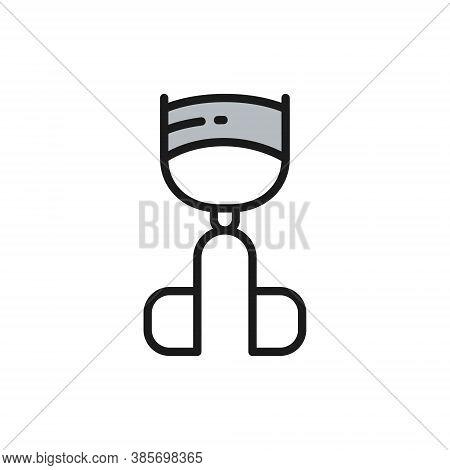 Vector Eyelash Curler Flat Color Line Icon.