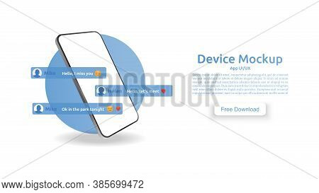 Realistic 3d Smartphone Template In A Circle On A White Background. Mockup Cellphone. Chat Messages