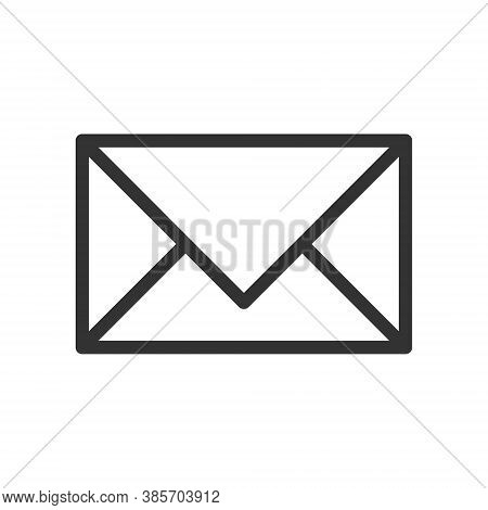 Mail Envelope Icon. Flat Shape Letter Symbol. Flat E-mail In Box Button Sign. Post Logo. Isolated On