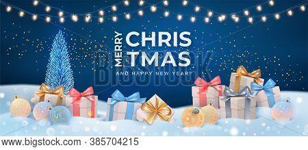 Christmas Holiday Serene Landscape. Winter Holiday Scene With Christmas Tree, Gifts And Christmas Ba