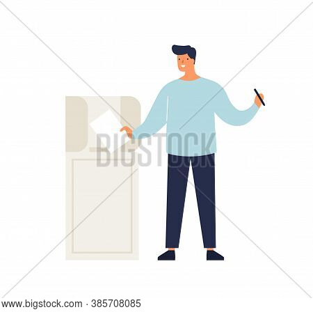 Man Putting Ballot In Box Taking Part At Voting Vector Flat Illustration. Happy Male Elector Making