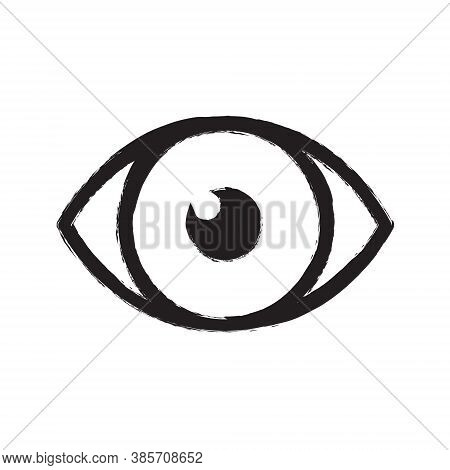 Eye Vector Icon. Optic Eyesight And Look Symbol. View Or Watch Sign. Optician Logo. Painted Ink Draw