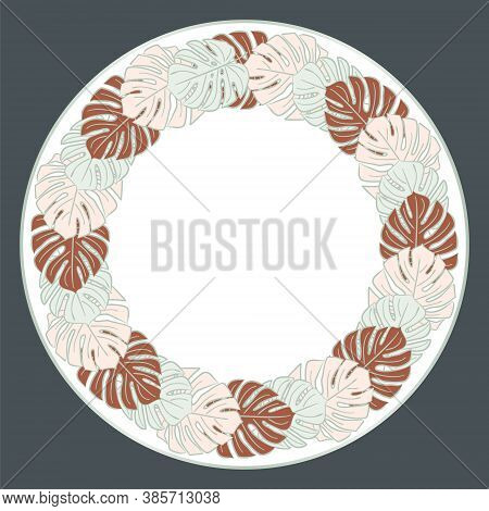 Pattern With Monstera Leaves In Art Deco Style. Blue, Pink And Brown Leaves On A Dark Background. Ci