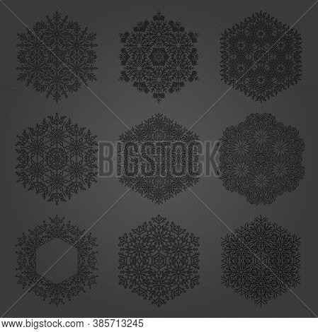 Set Of Snowflakes. Fine Winter Ornaments. Snowflakes Collection. Black Snowflakes For Backgrounds An