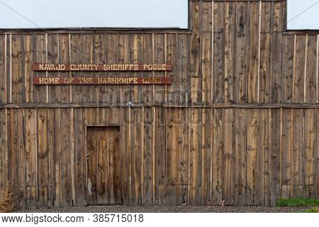 Holbrook Usa - September 23 2015; Historic Rustic Wooden Building Facade Of County Sheriff's Buildin