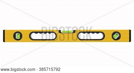 Building Spirit Level Tool Isolated On White With Clipping Path. 3d Render And Illustration Of Tool