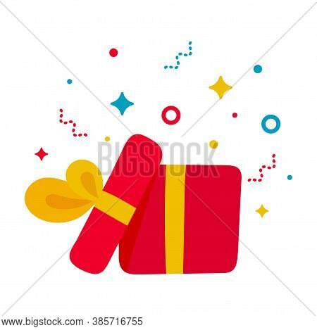 Hand Drawn Present Opened Gift Box. Kid Style Design Element. Open Surprise Red Box With Yellow Bow,