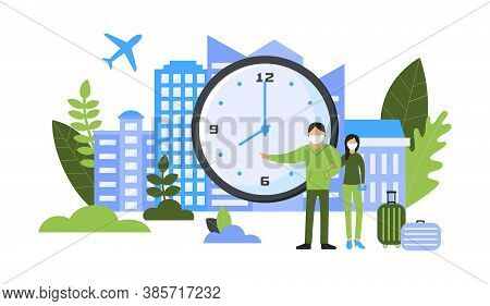 Time To Travel Concept. Man And Woman In Protective Masks With Luggage Showing The Time On The Clock
