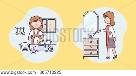 Washing And Cleaning Service Concept. Set Of Isolated Female Characters Doing Housework. Housemaid I