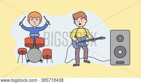 Live Music, Music Band, Concert, Music Performance Concept. Bass Guitarist And Drummer Live Duet, Mu