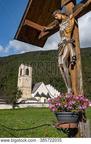 Mustair, Switzerland - September 8, 2020: Benedictine Abbey Of St. John With Exceptionally Well-pres