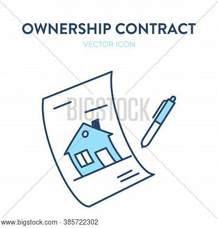 Real Estate Purchase Agreement Icon. Vector Illustration Of A Paper Document And A Pen Representing