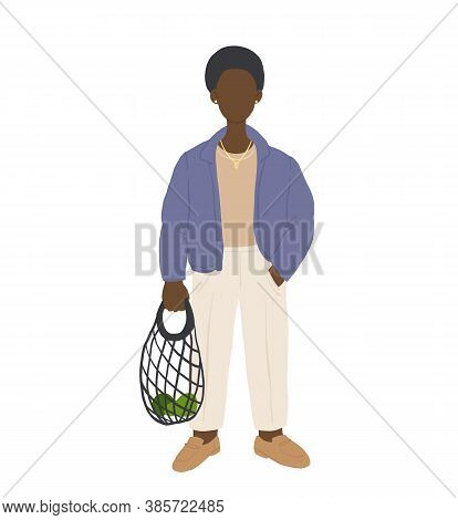 Zero Waste Life Style. Cartoon People With Natural Eco Products In Linen Bag And A String Bag, Shopp