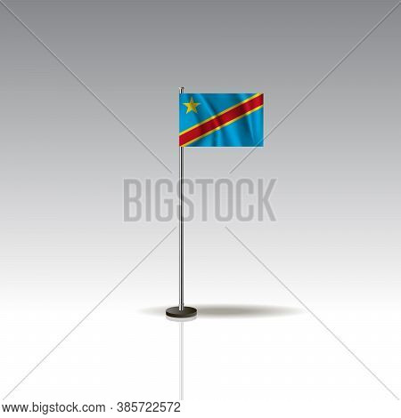 Desktop Flag Vector Image.national Democratic Republic Of The Congo Flag Isolated On Gray Background