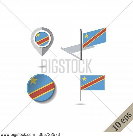 Map Pins With Flag Of Democratic Republic Of The Congo - Vector Illustration