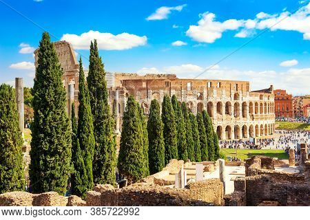 The Colosseum In Rome, Italy During Summer Sunny Day. The World Famous Colosseum Landmark In Rome.