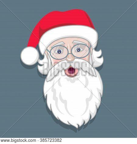 Santa Claus Face With Beard, Eyeglasses And Hat. Ho Ho Ho. Christmas Cartoon Character. Winter Holid
