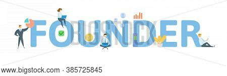 Founder. Concept With Keyword, People And Icons. Flat Vector Illustration. Isolated On White.