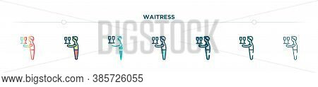 Waitress Icon Designed In Gradient, Filled, Two Color, Thin Line And Outline Style. Vector Illustrat