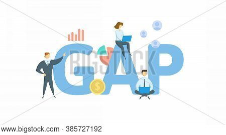 Gap. Concept With Keyword, People And Icons. Flat Vector Illustration. Isolated On White.