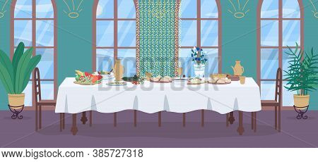 Traditional Indian Meal Flat Color Vector Illustration. Holiday Celebration With Feast. Dinner Table