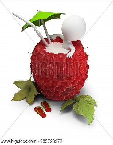 3d Small Person Sitting In A Raspberry Bath Under An Umbrella. 3d Image. White Background.