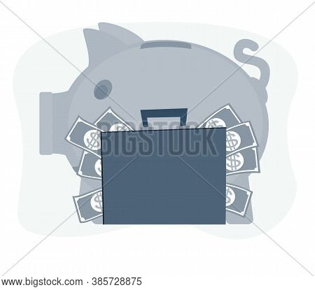 Vector Save Money Piggy Bank Flat Design Banking Economy Save Coin Finance Moneybox Piggybank Busine