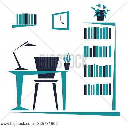 Workplace In The Office. Desk, Bookcase. Abstract Flat Design Of Simple Geometric Shapes. Vector Ill