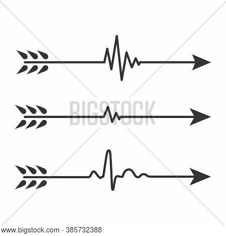 Set Of Arrows With Heartbeat Symbol. Vector Illustration. Electrocardiogram Signs Isolated.