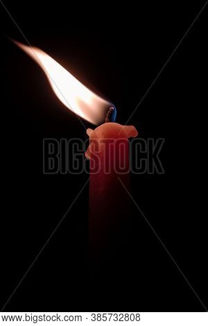 Red Candle Flame In A Dark Place Pic Is Taken When Pm Of India Narendra Modi Asked People Of India T