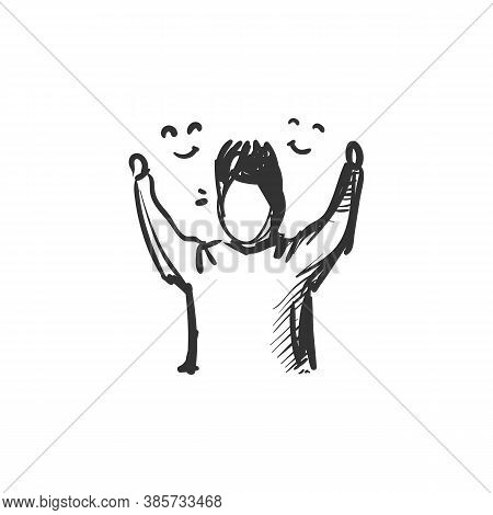 Enjoyment Line Icon. Person Raising Hands In Excitement. Outline Drawing. Experience Pleasure And Jo