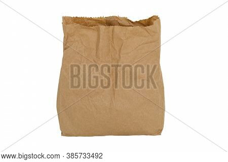 Recycle Brown Paper Bag For Mockup Isolated On White Background