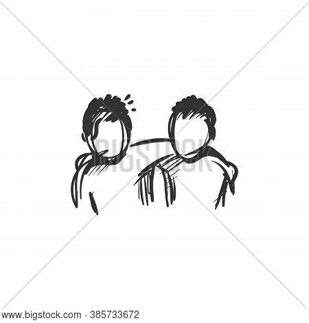 Best Friend Line Icon.two People Standing Together And Hugging. Outline Drawing. Strong Bond. Deep H