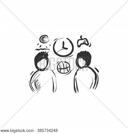 Pastime Line Icon.two People Spending Time Together. Outline Drawing. Hobby And Activities. Leisure