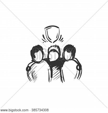 Brotherhood Line Icon. Three People Standing And Hugging Under Shield. Outline Drawing. Relationship