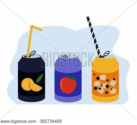 Various Tasty Sodas. Hand Drawn Vector Set Of Soft Drinks In Aluminum Cans. Carbonated Water With Di