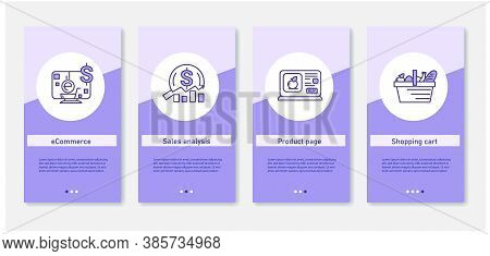 Online Product Retail Mobile App. Set Of App Screens With Ecommerce, Sales Analytics, Product Page A