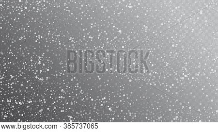 Falling Snow On Gray, Vector. Advertising Frame, New Year, Christmas Weather. Winter Holidays Storm